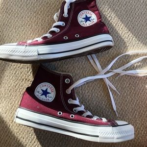 burgundy high top converse